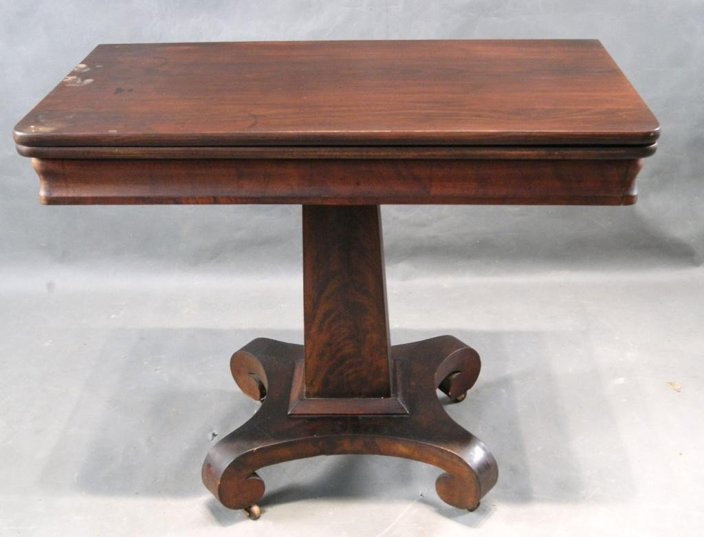 13: Empire mahogany card table