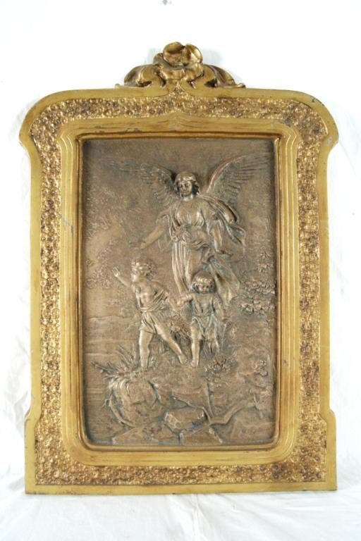 14: Signed Bronze Plaque - Guardian Angel