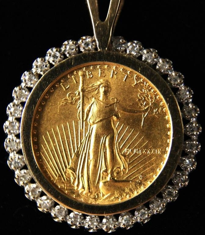 17: Liberty $5 gold coin pendant w diamonds