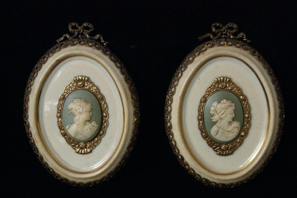 19: Pair of  Limoges oval wall plaques