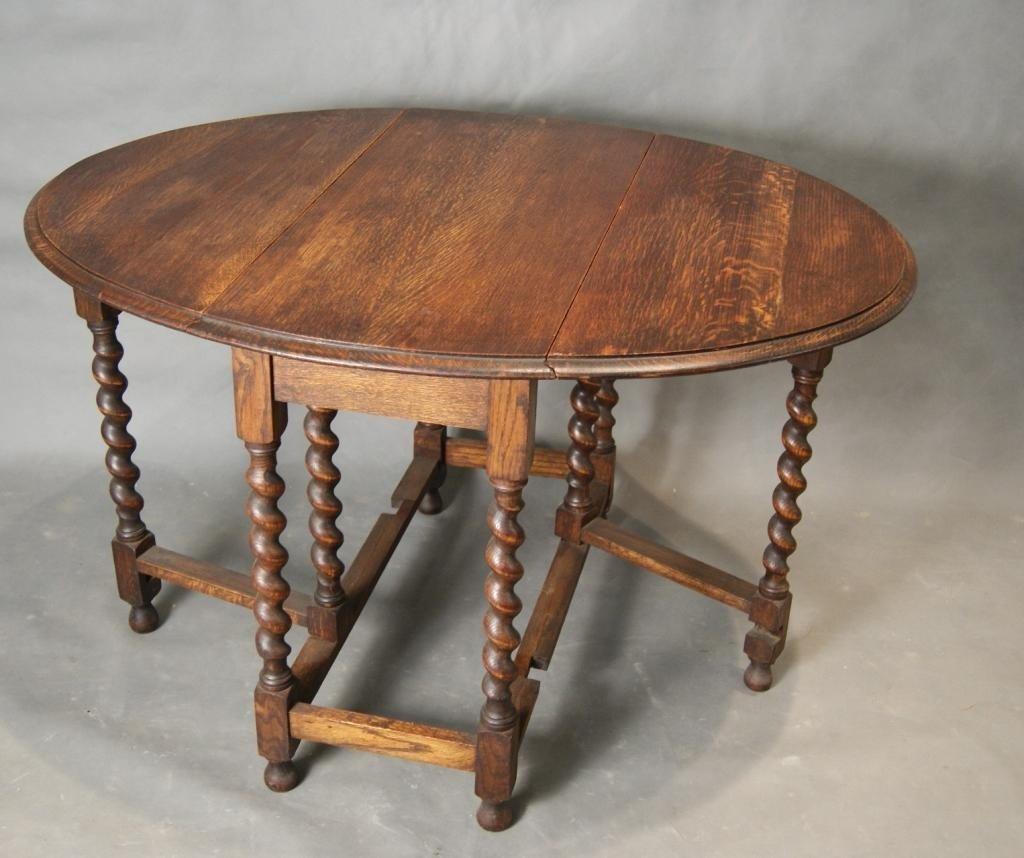 antique drop leaf side table w/ rope twist leg
