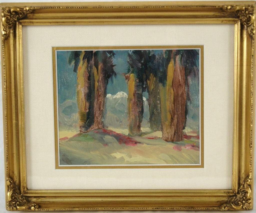 "20: William Dorsey 5""x6.5"" oil palm trees"