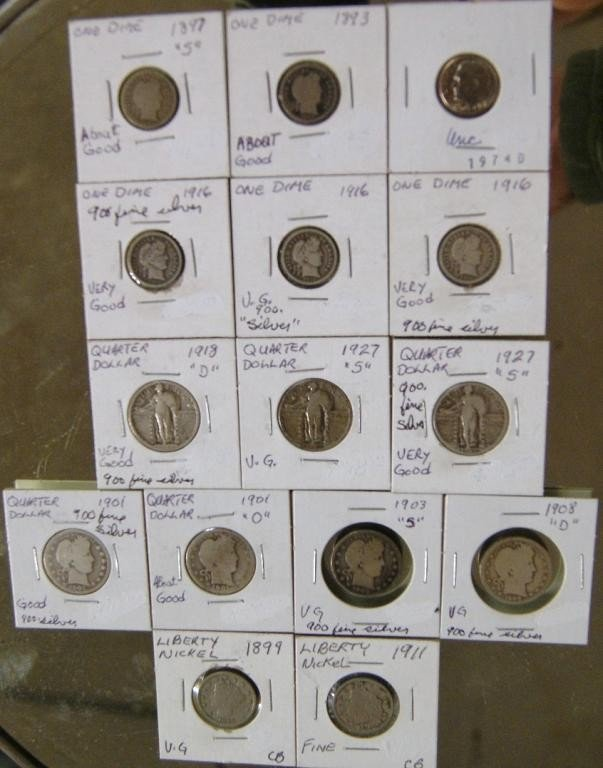 7A: Barber quarters, 8 dimes, 1893-1916 & 1974 - 15pcs