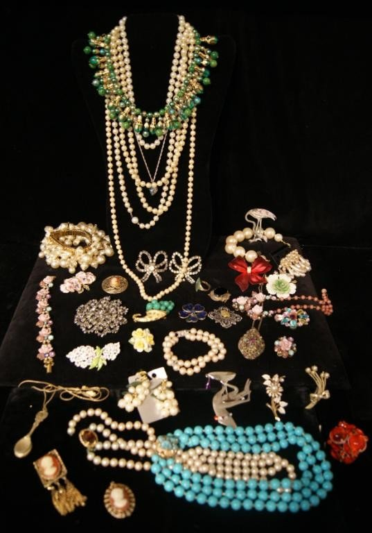 14: Large group of costume jewelry
