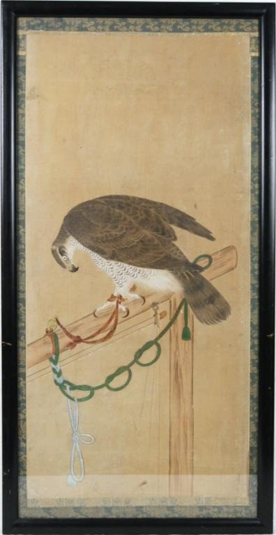 284: 19th c. Chinese Painting of Falcon