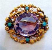 301 14kt yellow gold amethyst and turquoise brooch
