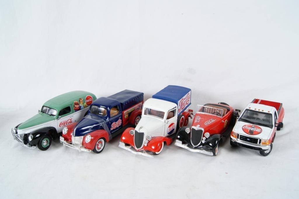 19: Collection of 5 Coca-Cola and Pepsi Diecast Trucks