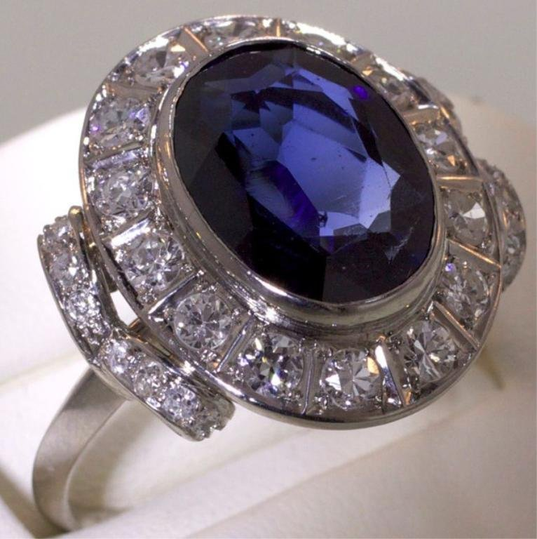 188: Vintage 5ct Sapphire & 1.8ct diamond platinum ring