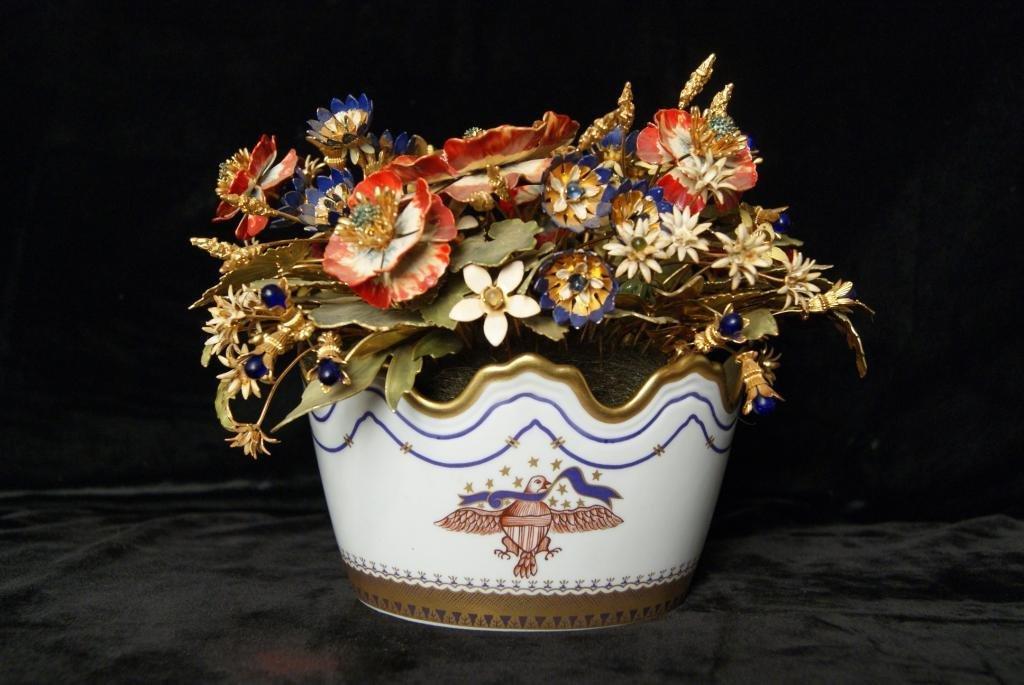 2: Vista Alegre porcelain planter w flowers