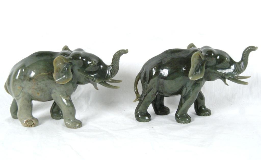 "5: 2 Jade elephants 7"" long 4""high"