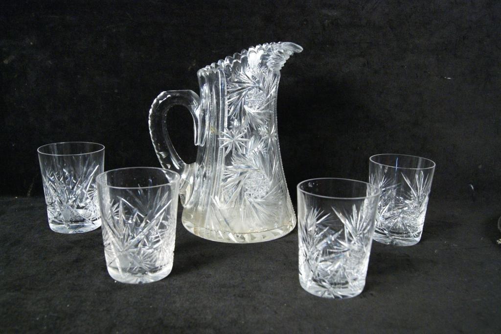5A: Antique cut glass pitcher and goblets - 5pcs
