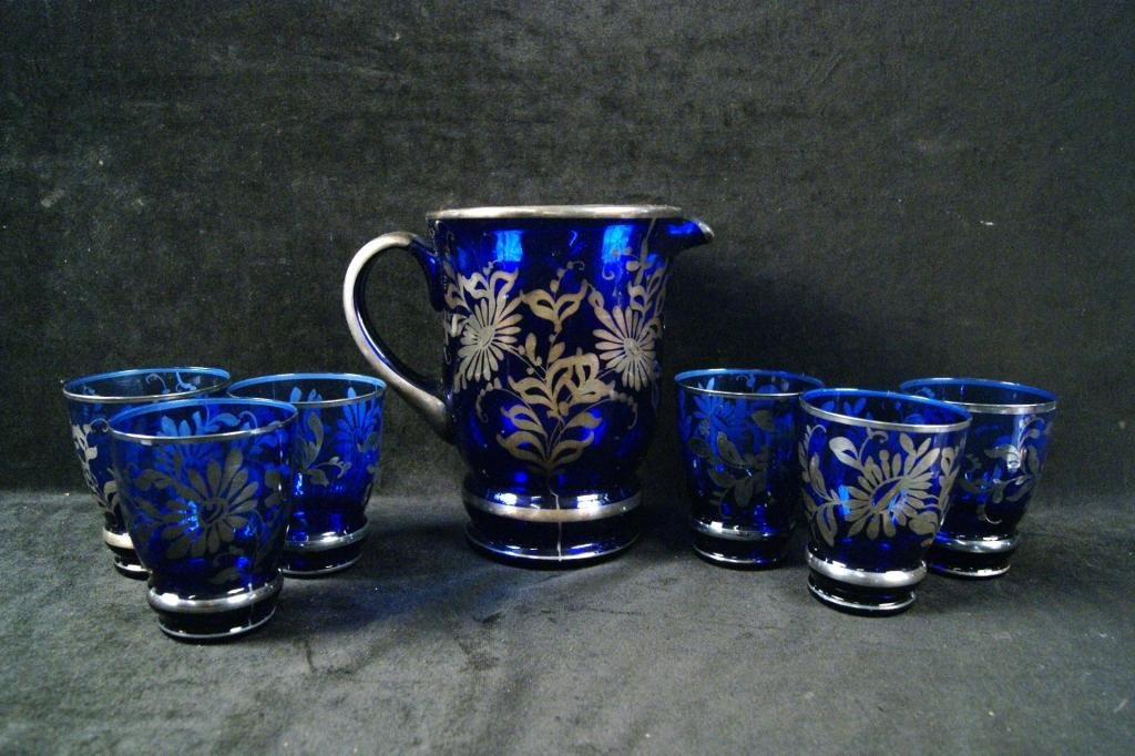 6A: Silver overlay cobalt pitcher & 6 glasses