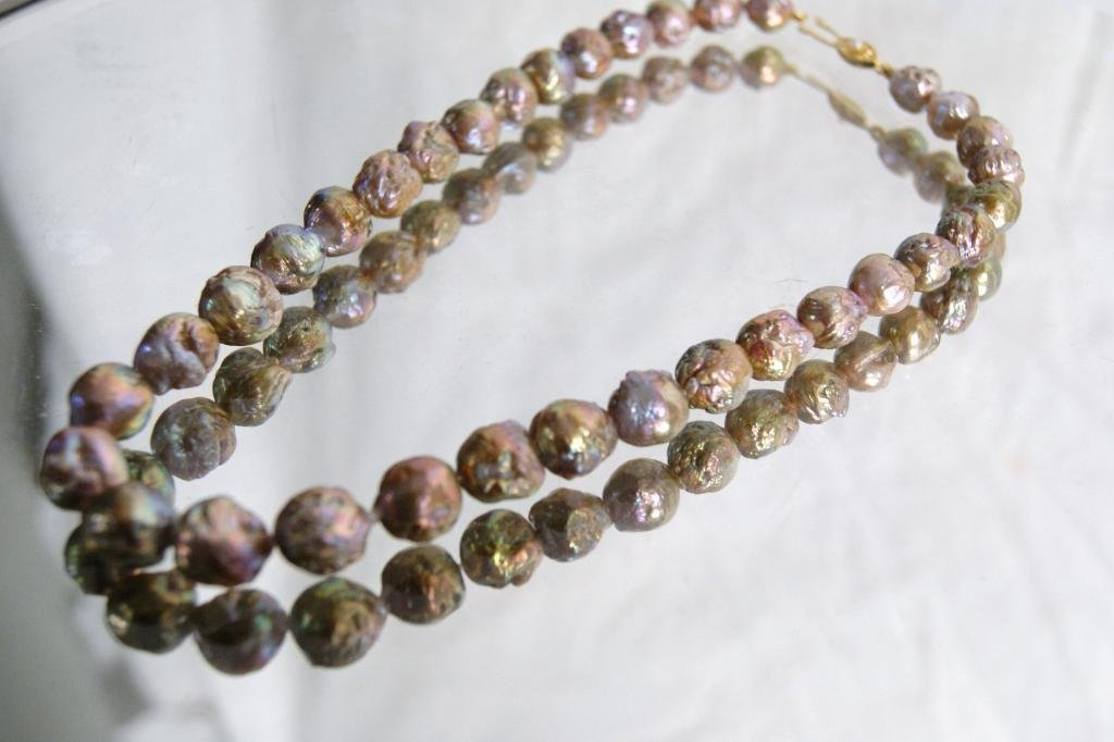 "10A: Baroque ""bronze"" pearl princess length necklace"