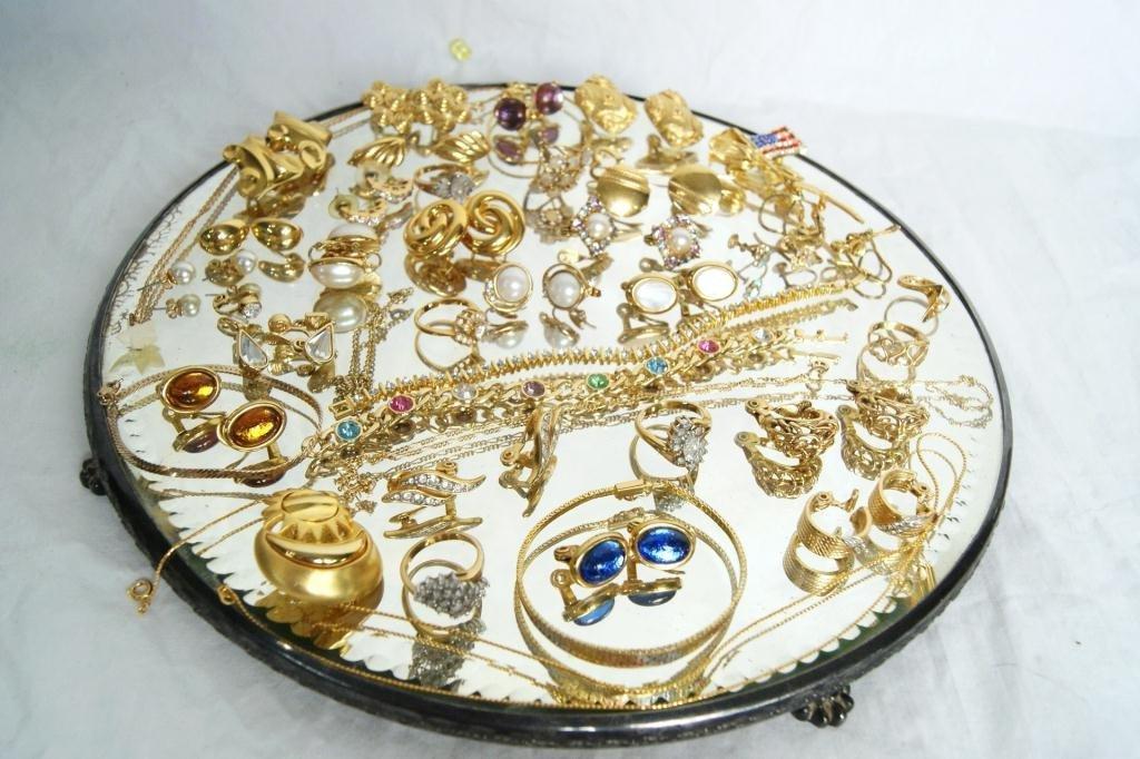 13: Gold plated, gemstone & costume jewelry