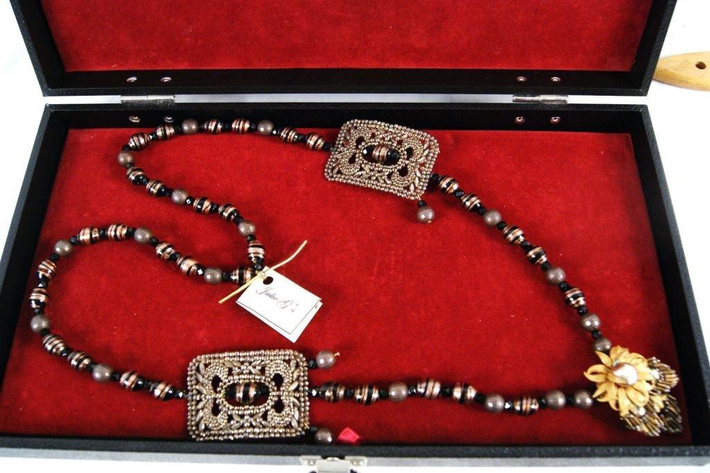 15: Miriam Haskell pendant w onyx & marcasite necklace