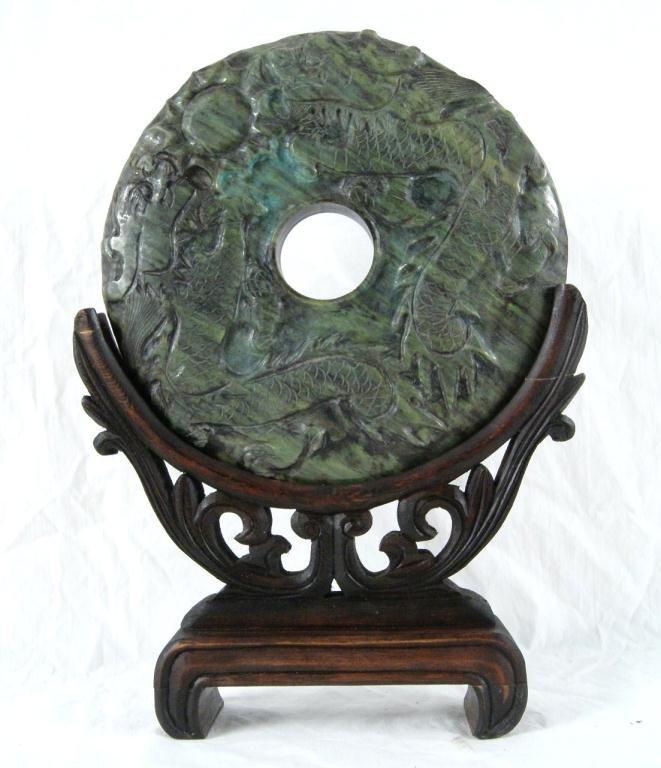 17: Oriental jadeite carving  - full circle Dragon