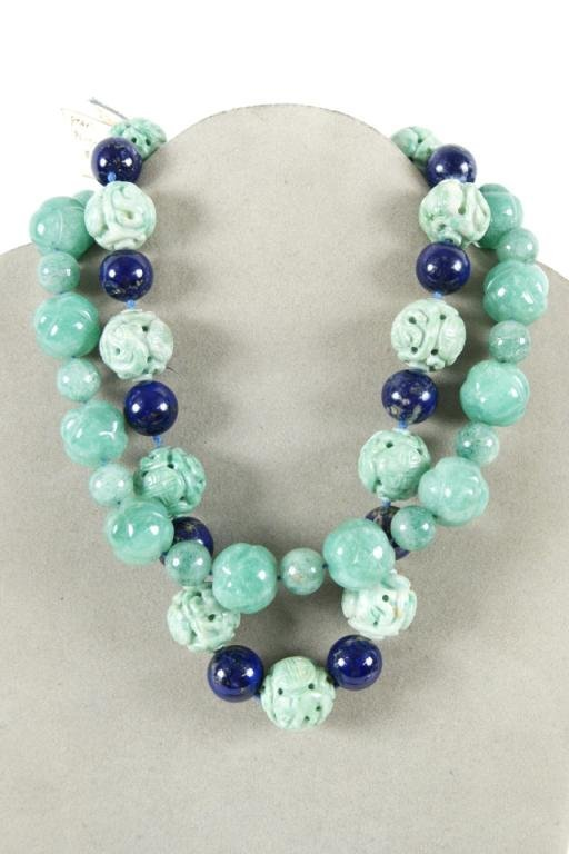 """20: 16"""" Knotted Lapis & Jade two strand necklace"""