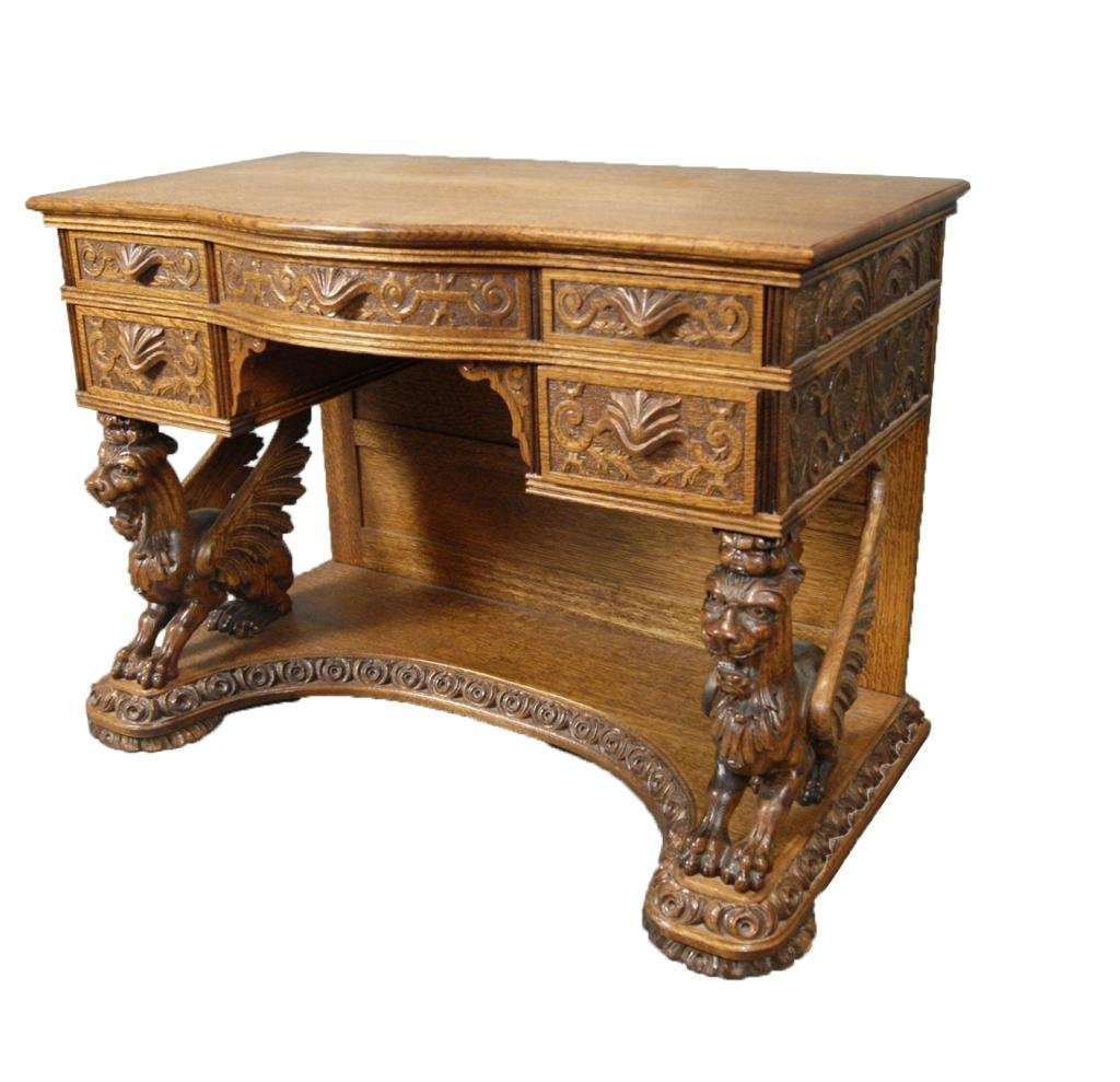 200: Fine Antique R.J. Horner Oak carved ladies desk