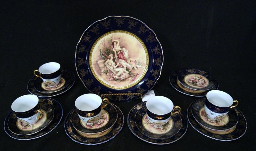2: Porcelain cobalt gold overlay tea setting - app 18