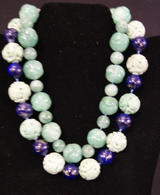 13: Lapis & Jadeite  & aventurine Necklace