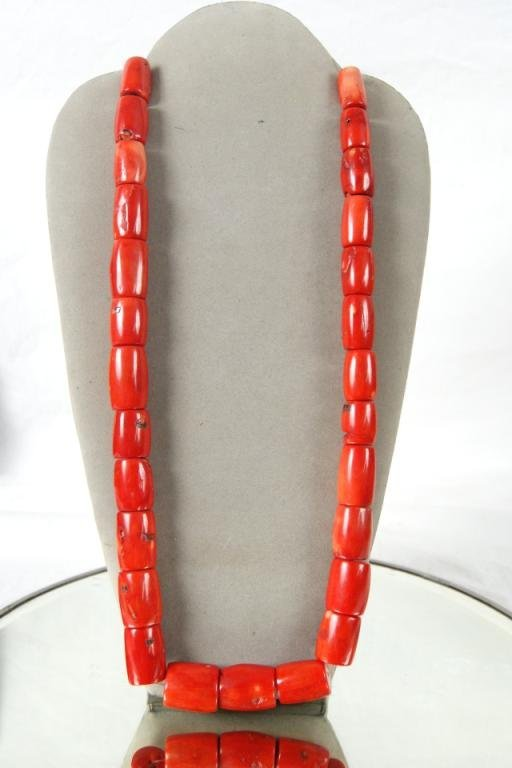 14: 27 pc. Rare Tibetan Red Bamboo Coral Strand 14.9oz