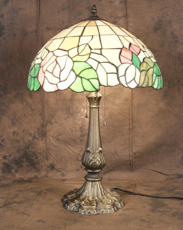 "7: Tiffany Style Stained glass 24"" lamp"