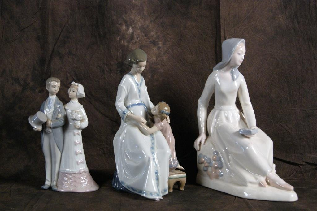 14: Collection of 3 Lladro & DH porcelain figurines