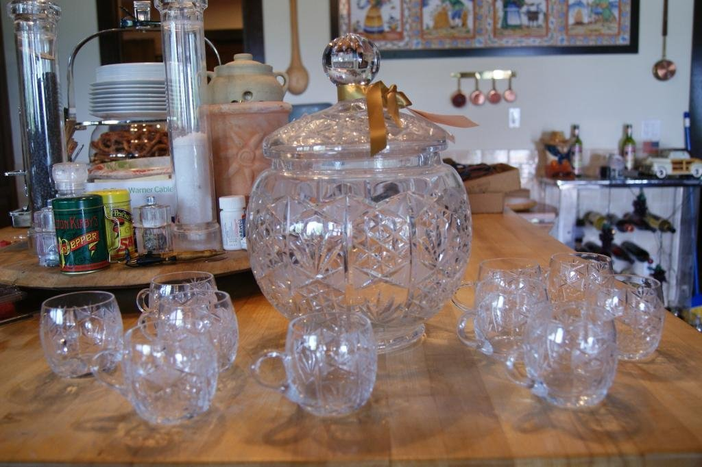20: German cut crystal covered punch bowl & 10 cups