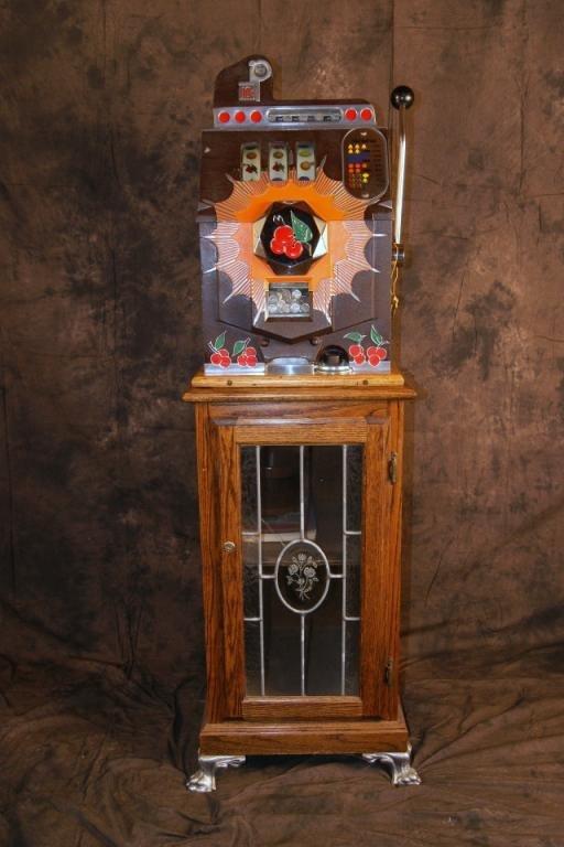 """67: Mills 10c """"Bursting Cherry """" slot machine w stand"""