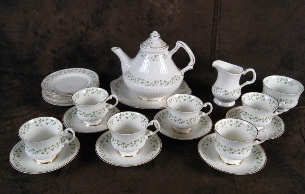 "125: Irish ""Royal Terra"" bone china clover tea set"