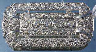 188 18kt French Art Deco platinum  diamond brooch