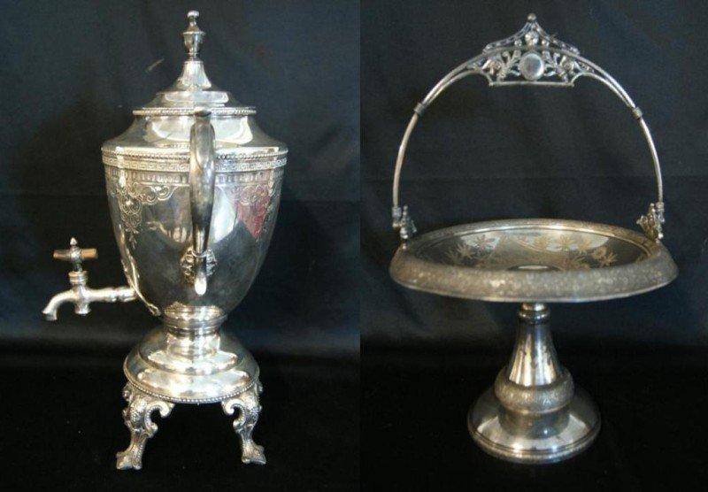 13: Victorian Am. silver plate compote & coffee