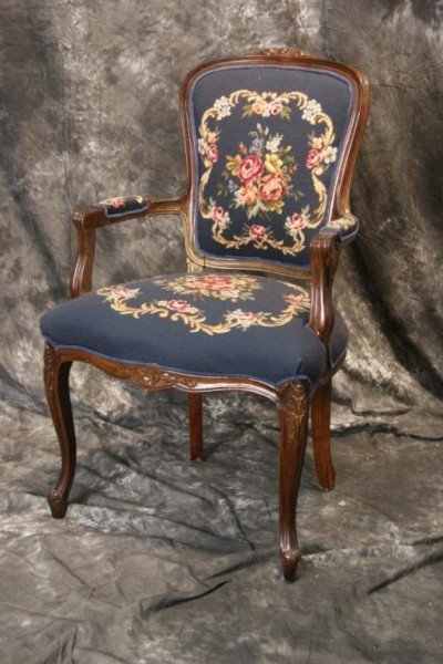 18: Louis XV French style needlepoint parlor chair