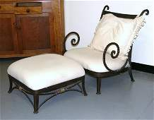 64: Wrought iron chair & ottoman