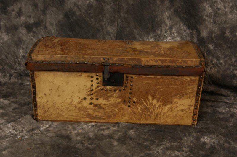 405: Antique Western Plains Trunk with hide cover