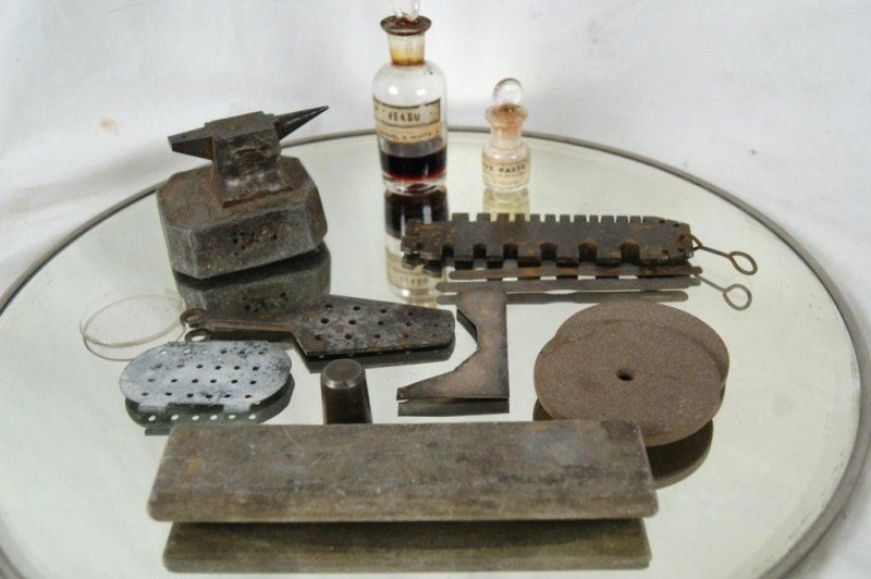 414: Collection of 13 Antique Dental tools and medicine