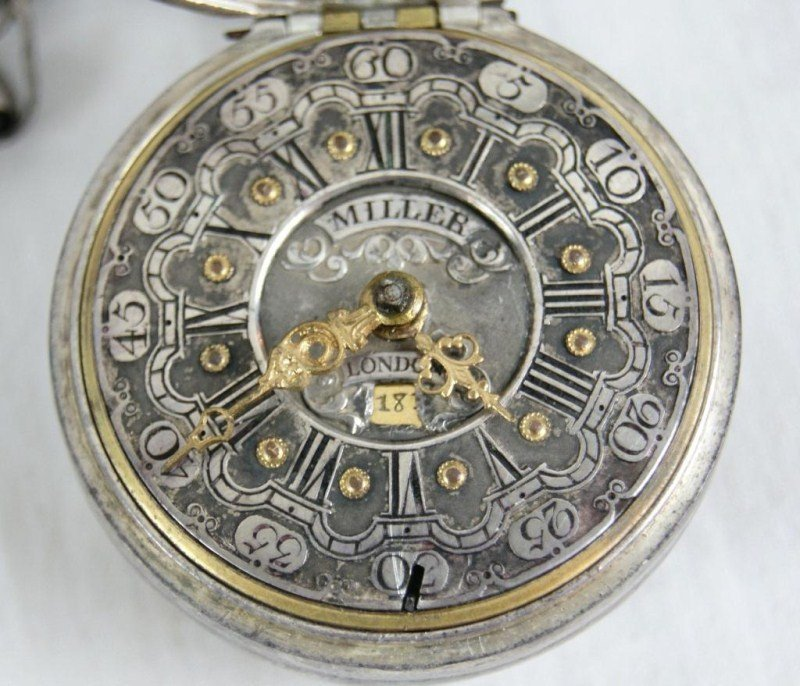 190: Thomas Miller reposse silver pocket watch ca.1768