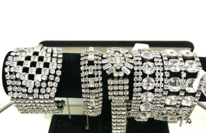 1: Collection of 5 Vintage rhinestone bracelets