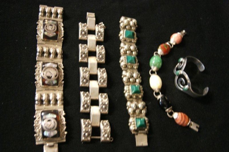 8: Signed Taxco & Mexico sterling bracelets - 5