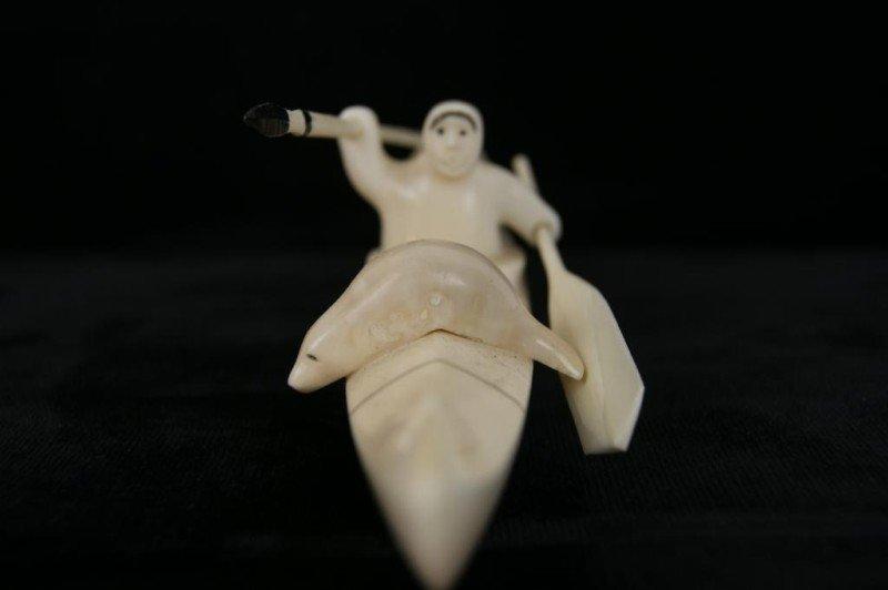 10: Paul Nattanguk Ivory Carved Eskimo Boat with seals - 3