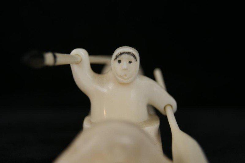 10: Paul Nattanguk Ivory Carved Eskimo Boat with seals - 4