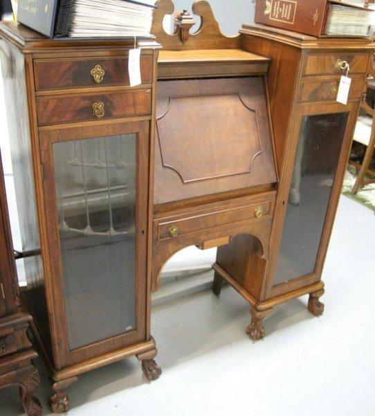 12: Drop Front Walnut side by side bookcase/desk