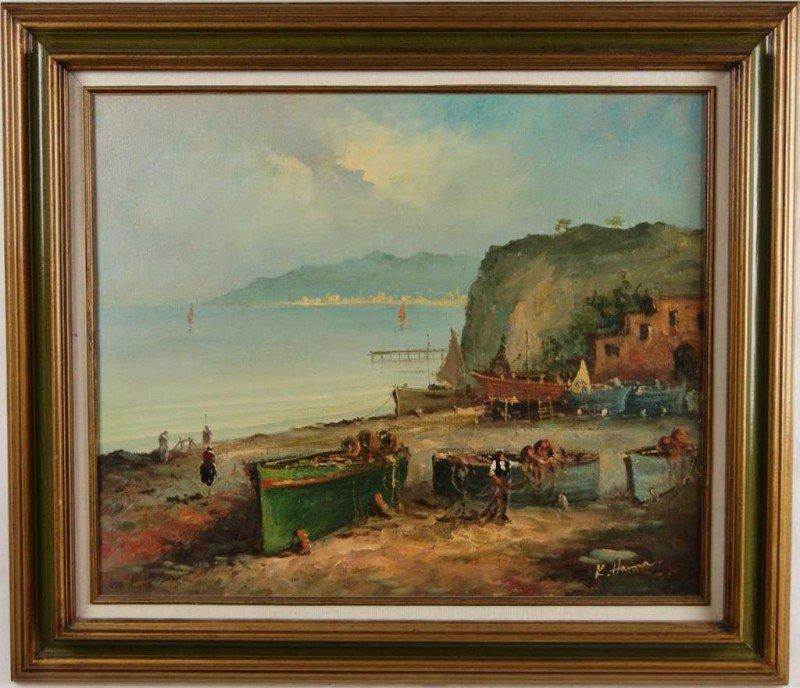 "15: K. Hanna 20"" x 24"" oil on canvas Harbor fisherman"