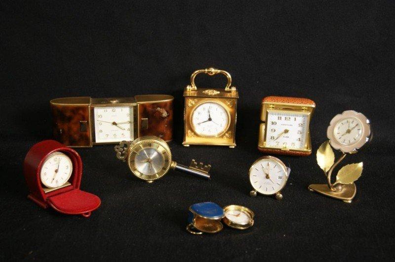 17: Group of desk & travel clocks - 8 pcs