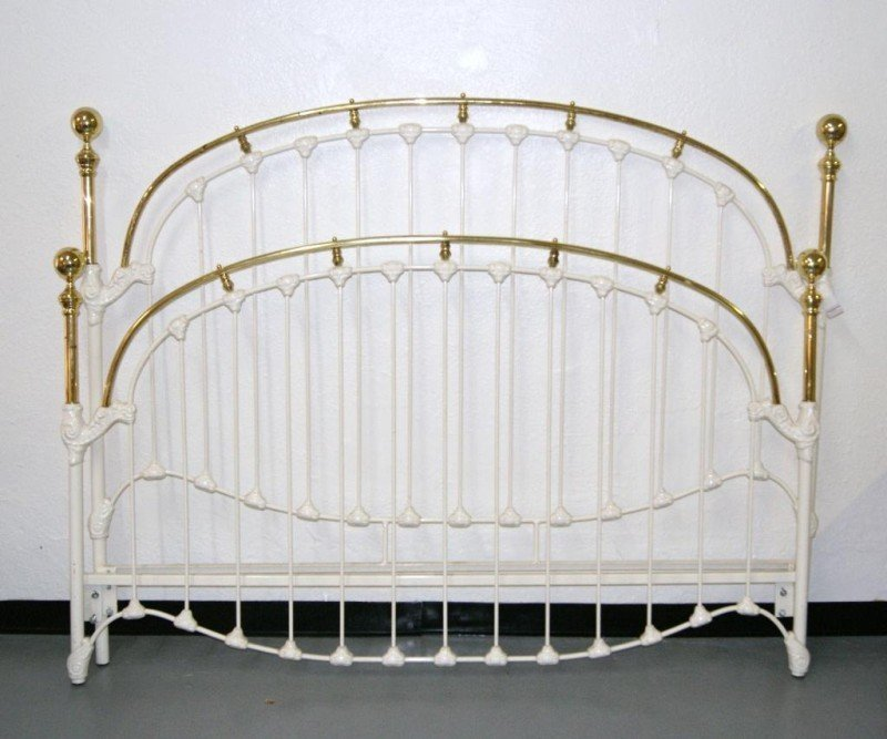 22: King headboard - brass and iron with rails