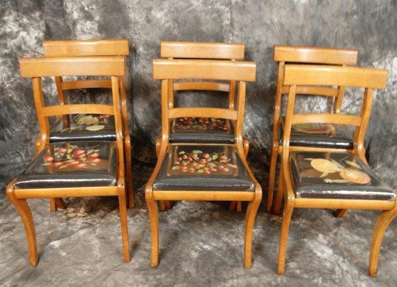 23: Set of 6 mahogany needlepoint dining chairs