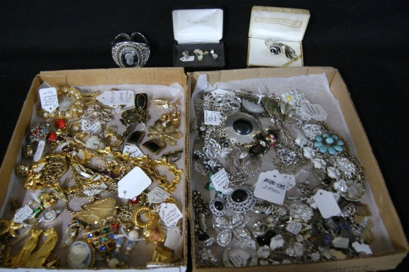 36: 2 Boxes of Vintage Estate costume jewelry