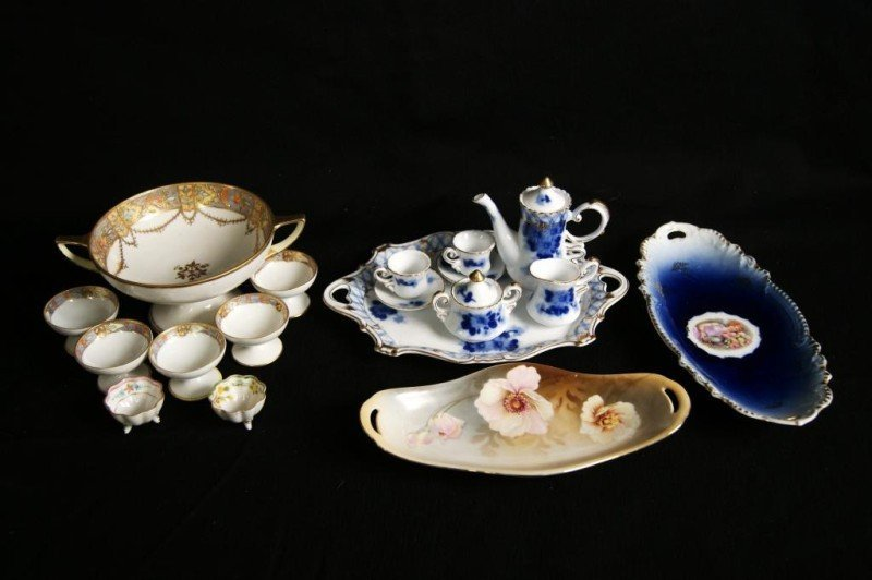7A: Nippon candy dish, salts, miniature porcelain tea
