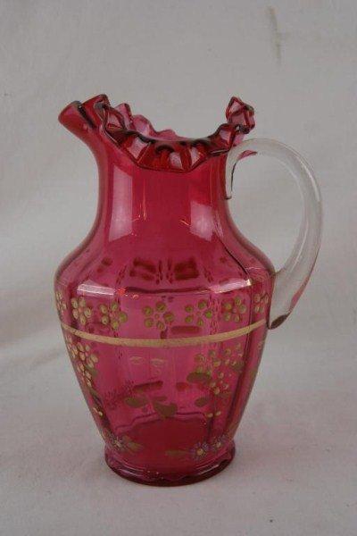 2: Antique Cranberry Pitcher w applied handle
