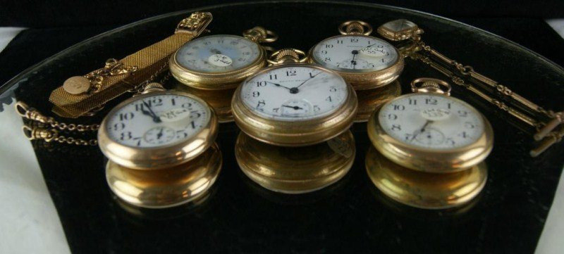 9: Collection of  5 Antique & Vintage  Pocket Watches